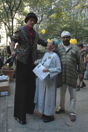 Sr. Ann with a stilt walker - Trinity WS Celebration Sunday 2009