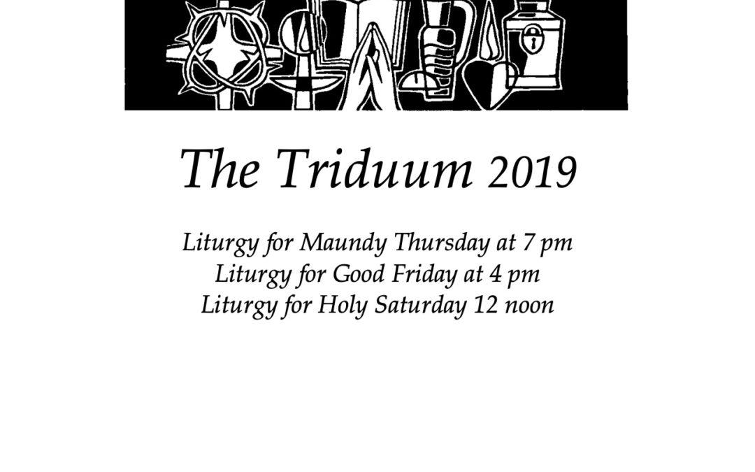 Bulletin for 2019 Triduum Services at St. Margaret's Chapel